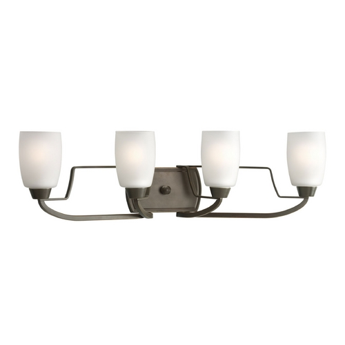 Progress Lighting Progress Bathroom Light with White Glass in Antique Bronze Finish P2797-20