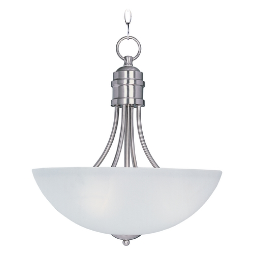 Maxim Lighting Maxim Lighting Logan Satin Nickel Pendant Light with Bowl / Dome Shade 10044FTSN