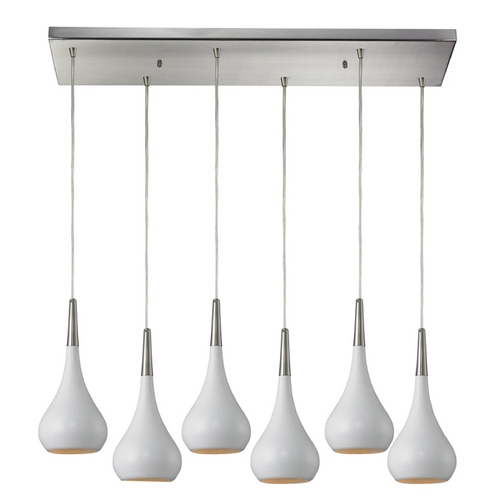 Elk Lighting Modern Multi-Light Pendant Light with White Shades and 6-Lights 31340/6RC-WH