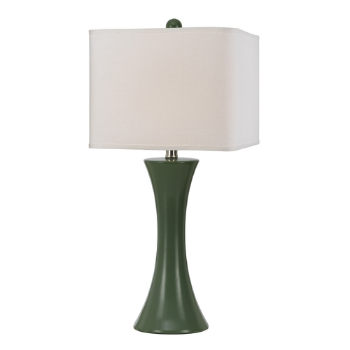 AF Lighting Modern Table Lamp with White Shade in Green Finish 8557-TL