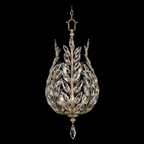 Fine Art Lamps Fine Art Lamps Crystal Laurel Antiqued Warm Silver Leaf Pendant Light 753840ST