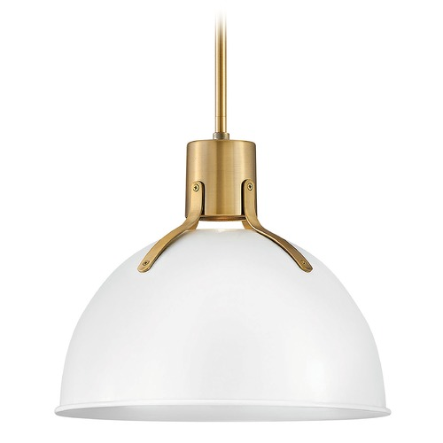 Hinkley Hinkley Argo Polished White / Lacquered Brass LED Pendant Light with Bowl / Dome Shade 3487PT