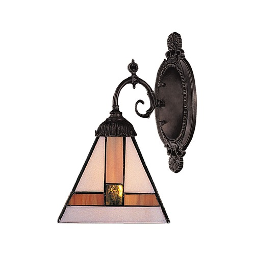 Elk Lighting Sconce with Tiffany Glass in Bronze Finish 071-TB-01