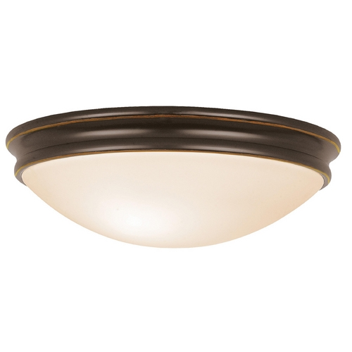 Access Lighting Modern Flushmount Light with White Glass in Oil Rubbed Bronze Finish 20725-ORB/OPL