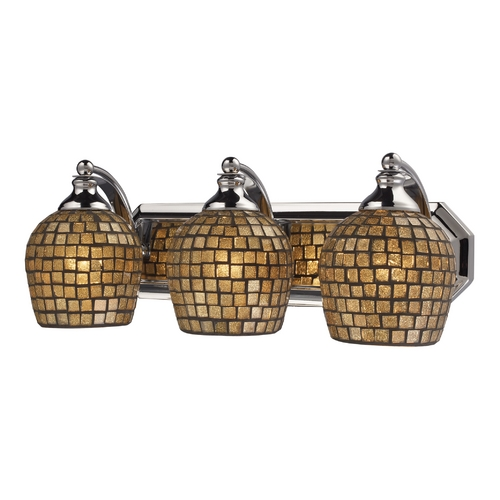 Elk Lighting Bathroom Light with Art Glass in Polished Chrome Finish 570-3C-GLD