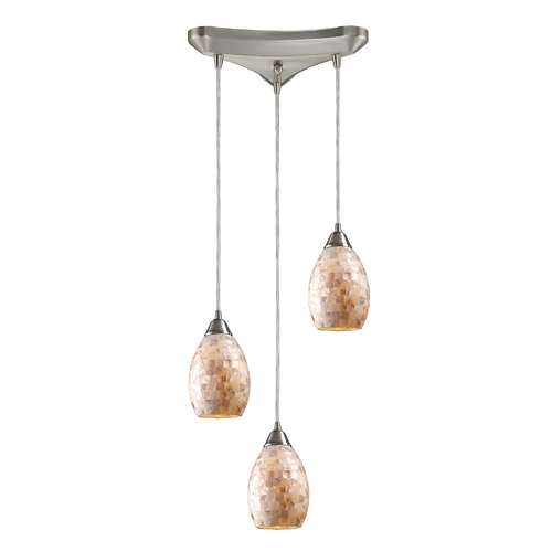 Elk Lighting Modern Multi-Light Pendant Light with Beige / Cream Glass and 3-Lights 10141/3