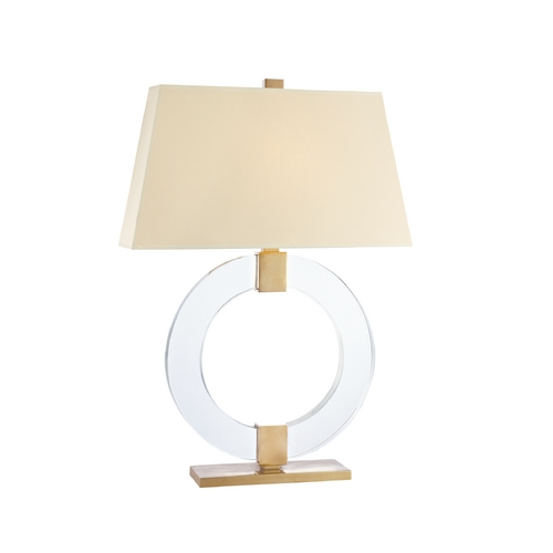 Hudson Valley Lighting Modern Table Lamp with Beige / Cream Paper Shade in Aged Brass Finish L606-AGB