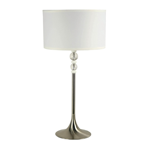 Kenroy Home Lighting Modern Table Lamp with White Shade in Brushed Steel Finish 20118BS