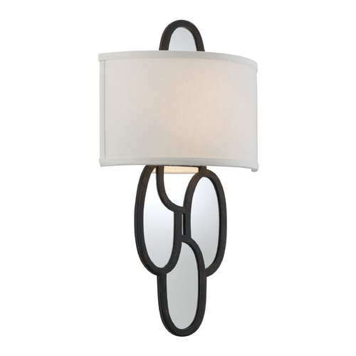 Troy Lighting Sconce Wall Light with White Shade in Charred Copper Finish B3472