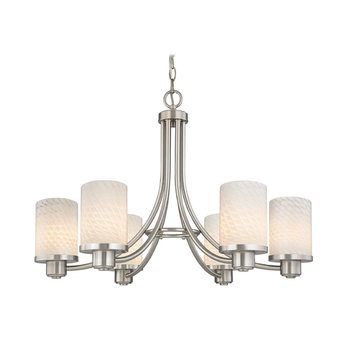 Design Classics Lighting Modern Chandelier with White Glass in Satin Nickel Finish 588-09 GL1020C