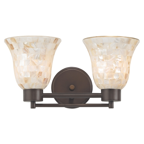 Design Classics Lighting Bathroom Light with Mosaic Glass in Bronze Finish 702-220 GL9222-M