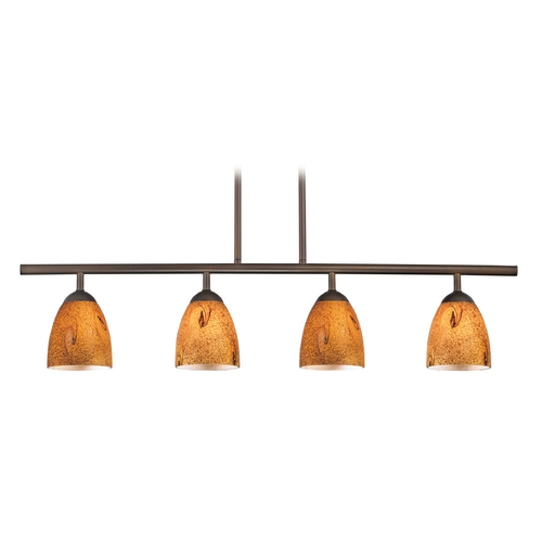 Design Classics Lighting Modern Island Light with Brown Glass in Neuvelle Bronze Finish 718-220 GL1001MB
