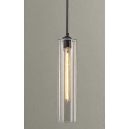 Design Classics Lighting Black Mini-Pendant Light with Clear Cylinder Glass 581-07 GL1640C