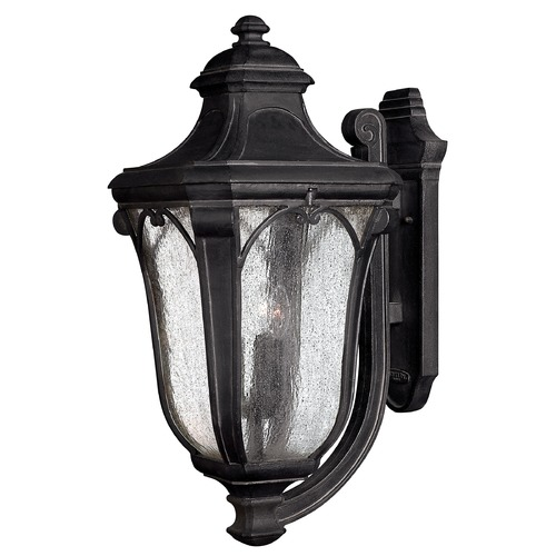 Hinkley Lighting Seeded Glass Outdoor Wall Light Black Hinkley Lighting 1319MB
