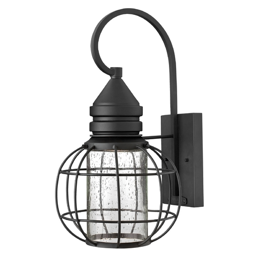 Hinkley Lighting Seeded Glass Outdoor Wall Light Black Hinkley Lighting 2254BK