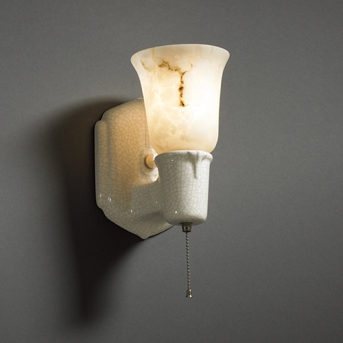 Justice Design Group Plug-In Wall Lamp in White Crackle Finish CER-7151-CRK