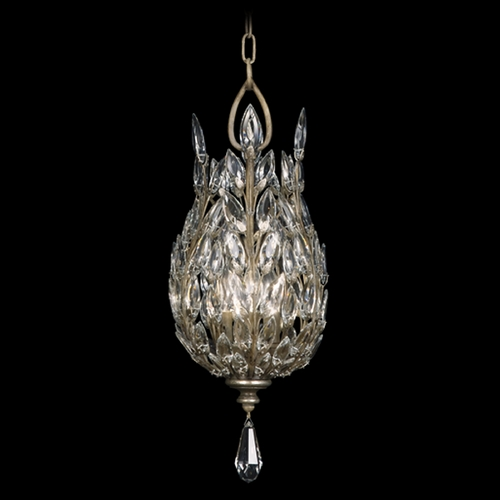 Fine Art Lamps Fine Art Lamps Crystal Laurel Antiqued Warm Silver Leaf Pendant Light 804640ST