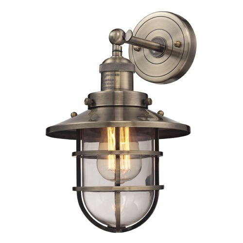 Elk Lighting Elk Lighting Seaport Antique Brass Sconce 66376/1