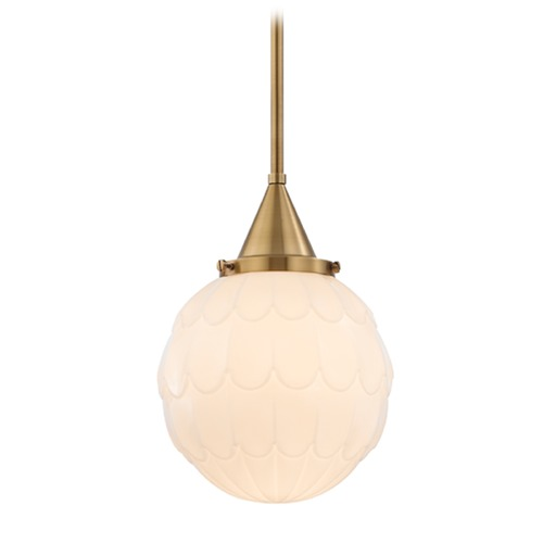 Hudson Valley Lighting Hudson Valley Lighting Tybalt Aged Brass Mini-Pendant Light with Globe Shade 4809-AGB