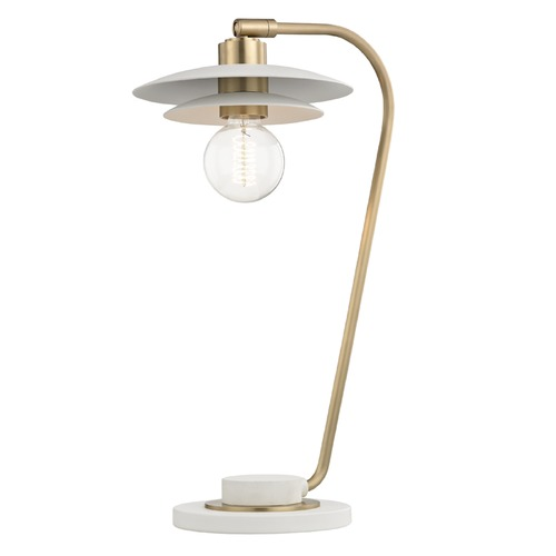 Mitzi by Hudson Valley Mid-Century Modern Table Lamp Brass / White Mitzi Milla by Hudson Valley HL175201-AGB/WH