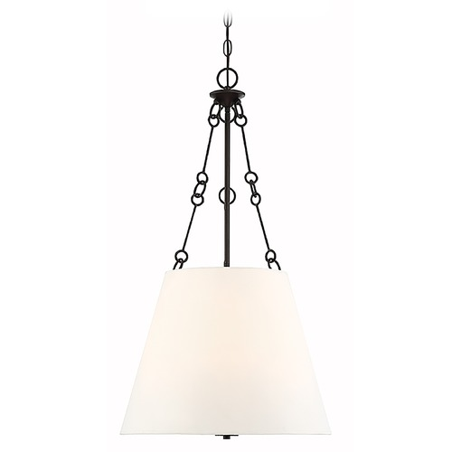 Savoy House Savoy House Austin English Bronze Pendant with White Fabric Empire Shade 7-2201-4-13