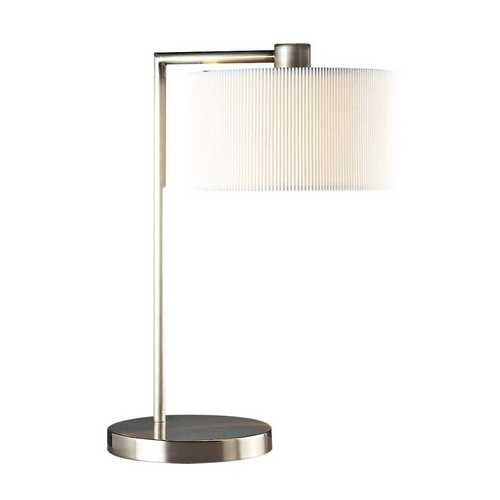 George Kovacs Lighting Modern Table Lamp with White Shade in Brushed Nickel Finish P352-084