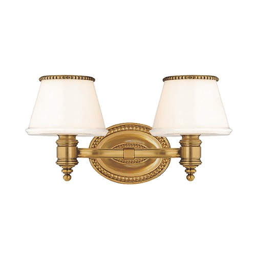 Hudson Valley Lighting Bathroom Light with White Glass in Flemish Brass Finish 4942-FB