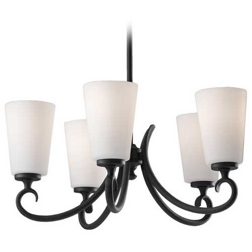 Feiss Lighting Chandelier with White Glass in Black Finish F2535/5BK