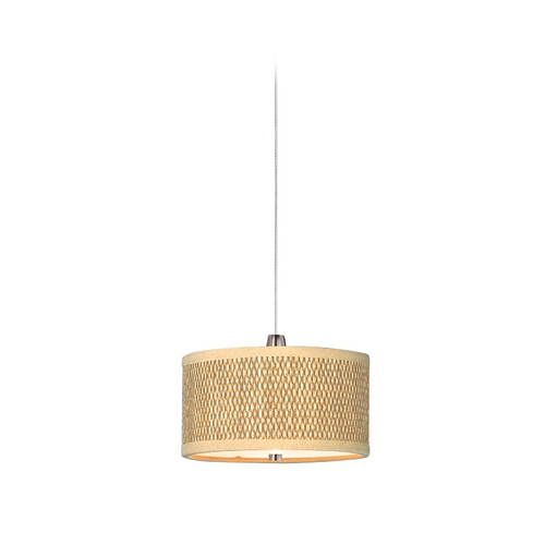 ET2 Lighting Modern Low Voltage Mini-Pendant Light with Brown Tones Grasscloth Shade E95480-101SN