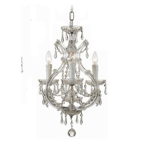 Crystorama Lighting Crystal Mini-Chandelier in Polished Chrome Finish 4473-CH-CL-S