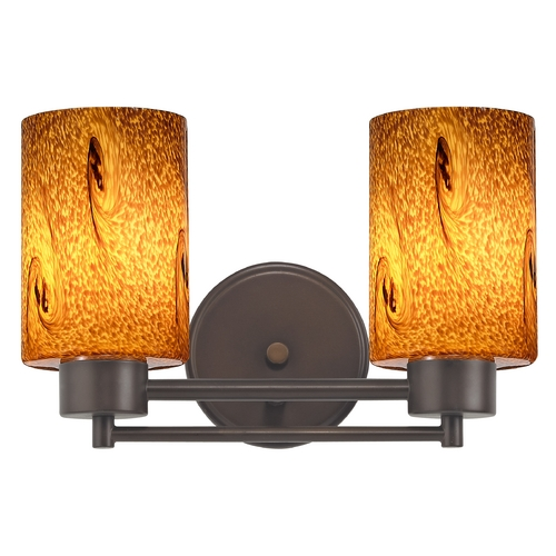 Design Classics Lighting Modern Bathroom Light with Brown Art Glass in Neuvelle Bronze Finish 702-220 GL1001C