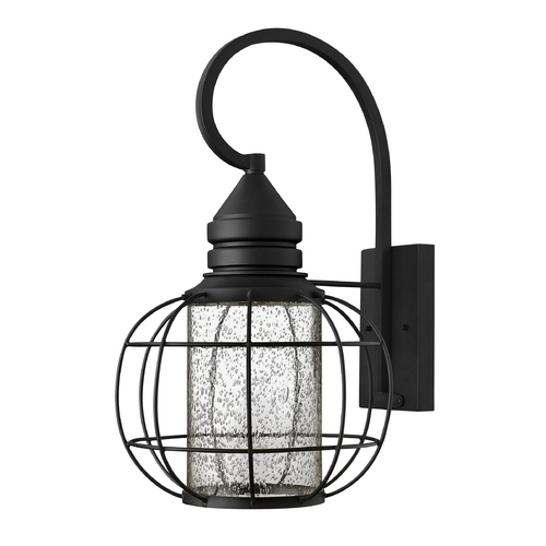 Hinkley Lighting Seeded Glass Outdoor Wall Light Black Hinkley Lighting 2255BK