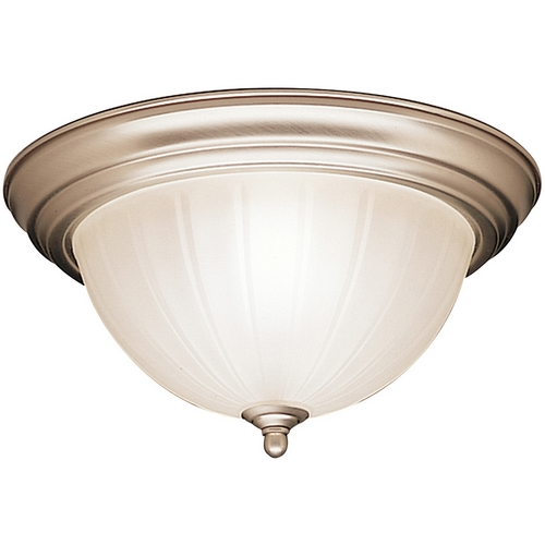 Kichler Lighting Kichler Flushmount Light with White Glass in Brushed Nickel Finish 8654NI