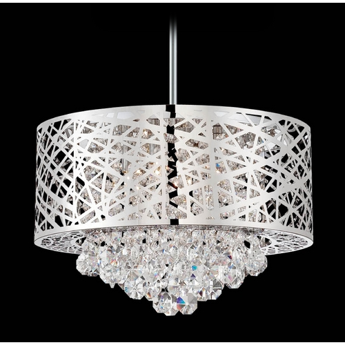 Lite Source Lighting Lite Source Lighting Benedetta Chrome Pendant Light with Drum Shade EL-10101