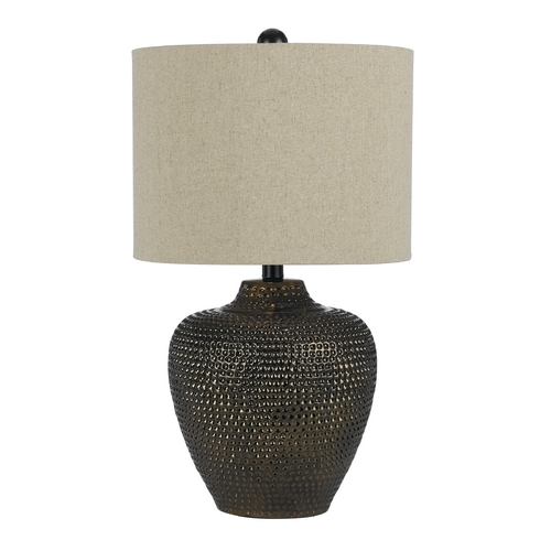 AF Lighting Table Lamp with Beige / Cream Shade in Brown Finish 8559-TL