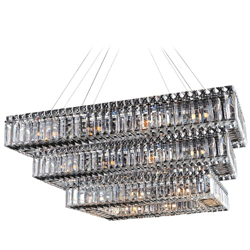 Allegri Lighting Bagguette 43in x 27in Rectangular 3 Tier Pendant 11777-010-FR001