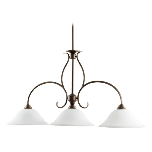 Quorum Lighting Quorum Lighting Spencer Oiled Bronze Island Light with Bowl / Dome Shade 6510-3-186