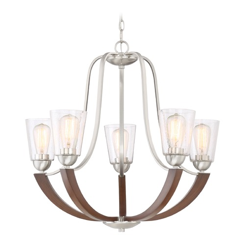Quoizel Lighting Seeded Glass Chandelier Brushed Nickel Quoizel Lighting HE5005BN