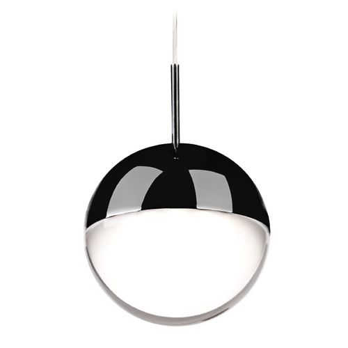 Kuzco Lighting Modern Black Chrome LED Mini-Pendant with Frosted Shade 3000K 300LM 402801BC-LED