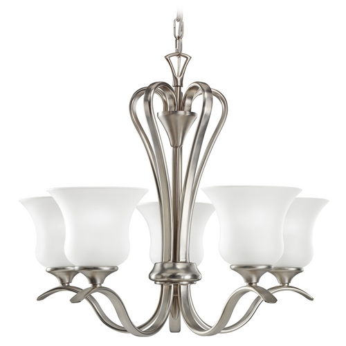 Kichler Lighting Kichler Chandelier with White Glass in Brushed Nickel Finish 2085NI