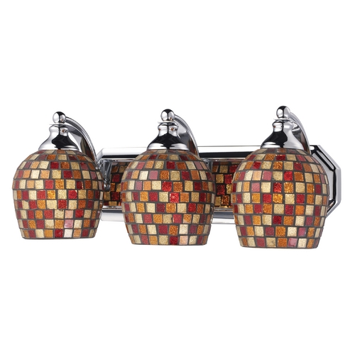 Elk Lighting Bathroom Light with Art Glass in Polished Chrome Finish 570-3C-MLT
