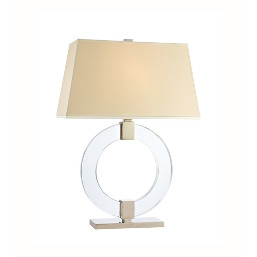 Hudson Valley Lighting Modern Table Lamp with Beige / Cream Paper Shade in Polished Nickel Finish L606-PN