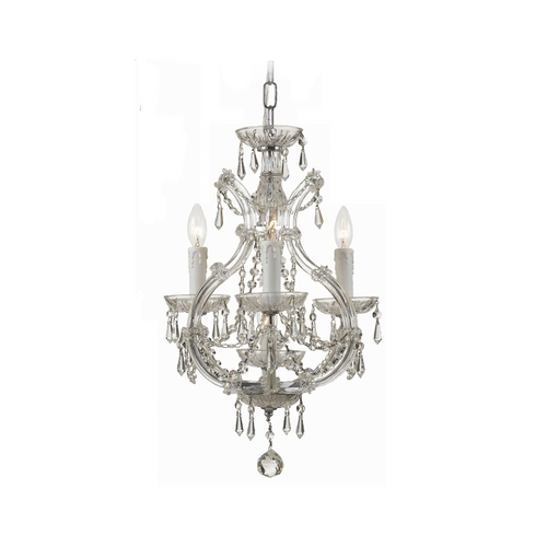 Crystorama Lighting Crystal Mini-Chandelier in Polished Chrome Finish 4473-CH-CL-SAQ