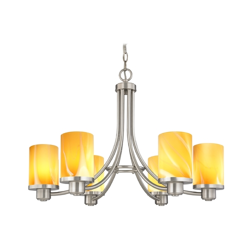 Design Classics Lighting Modern Chandelier with Brown Art Glass in Satin Nickel Finish 588-09 GL1022C