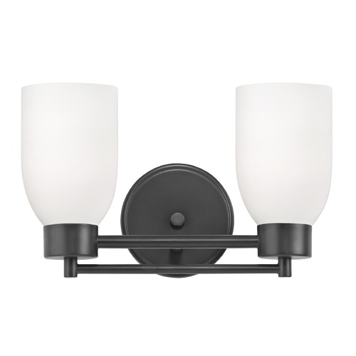 Design Classics Lighting Modern Bathroom Light White Glass Black 2 Lt 702-07 GL1028D