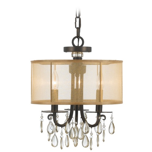Crystorama Lighting Crystorama Lighting Hampton English Bronze Pendant Light with Drum Shade 5623-EB
