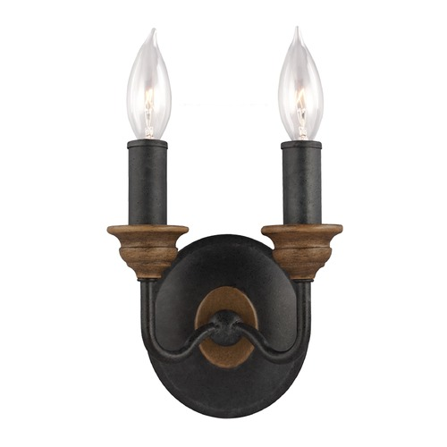 Feiss Lighting Feiss Lighting Hartsville Dark Weathered Zinc / Weathered Oak Sconce WB1756DWZ/WO