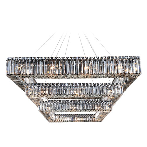 Allegri Lighting Quadro 35in Square 3-Tier Pendant 11780-010-FR001