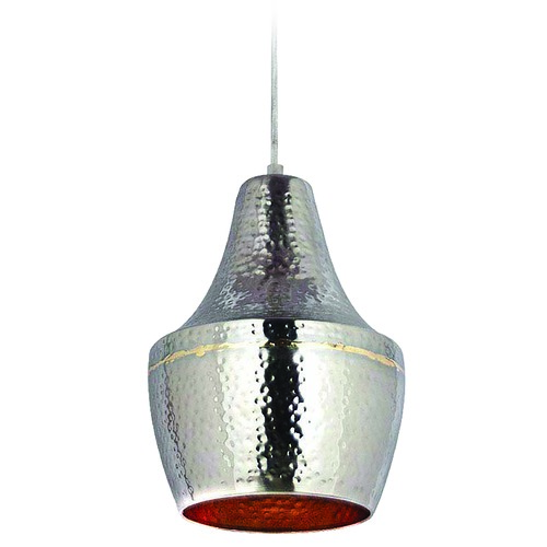 Kenroy Home Lighting Kenroy Home Lighting Dervish Hammered Nickel and Brass Mini-Pendant Light 92059HNBR