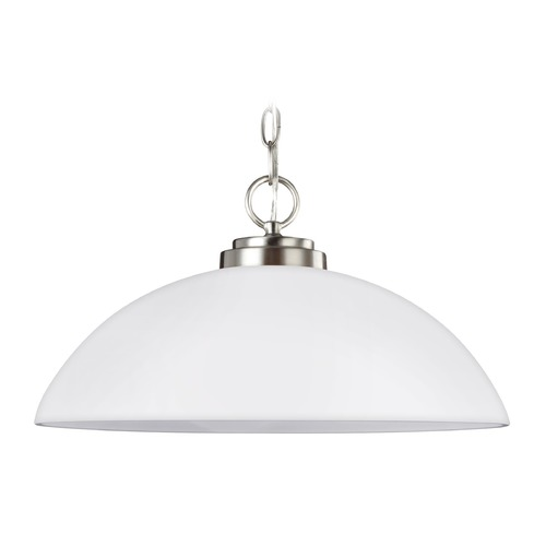 Sea Gull Lighting Sea Gull Lighting Oslo Brushed Nickel Pendant Light with Bowl / Dome Shade 65160-962